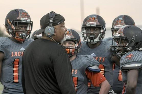 2018 Leesburg Yellow Jackets Football Archives, 3rd year Leesburg High School Head Football Coach Mark Oates (Photo courtesy of Daily Commercial), Carver Heights Quarterback Club, Leesburg High School, Leesburg, Florida